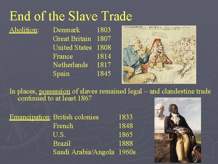 End of the Slave Trade Abolition: Denmark Great Britain United States France Netherlands Spain