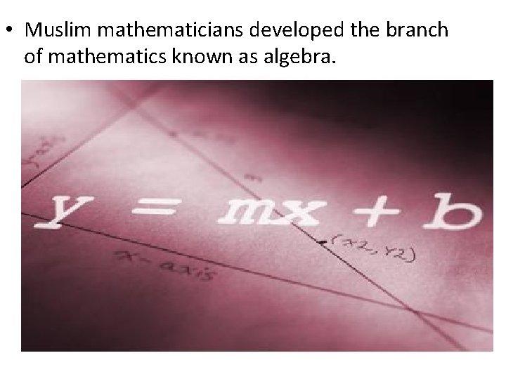 • Muslim mathematicians developed the branch of mathematics known as algebra.