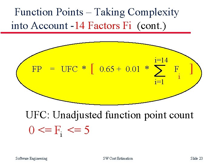 Function Points – Taking Complexity into Account -14 Factors Fi (cont. ) FP =