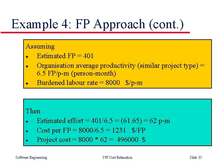 Example 4: FP Approach (cont. ) Assuming l Estimated FP = 401 l Organisation