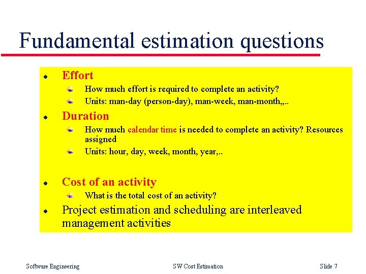 Fundamental estimation questions l Effort How much effort is required to complete an activity?