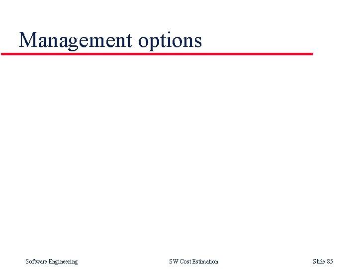 Management options Software Engineering SW Cost Estimation Slide 85