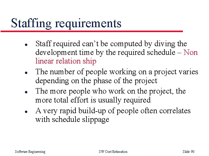 Staffing requirements l l Staff required can't be computed by diving the development time