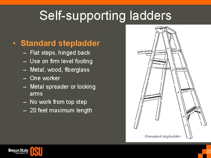 Self-supporting ladders • Standard stepladder – – – Flat steps, hinged back Use on