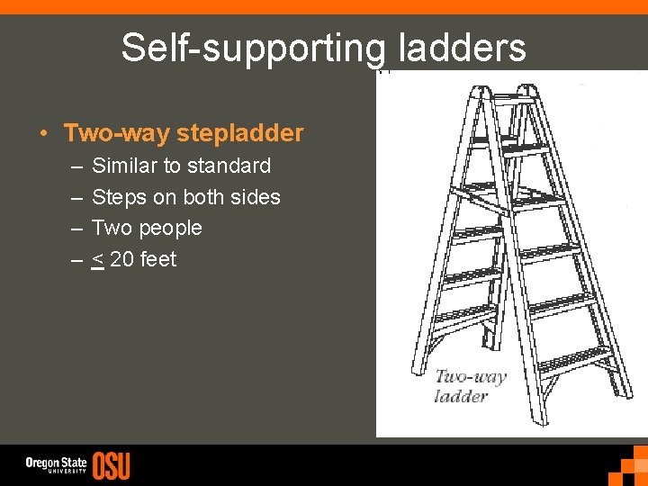 Self-supporting ladders • Two-way stepladder – – Similar to standard Steps on both sides