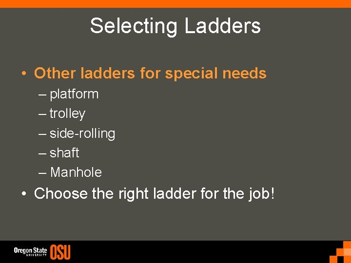 Selecting Ladders • Other ladders for special needs – platform – trolley – side-rolling