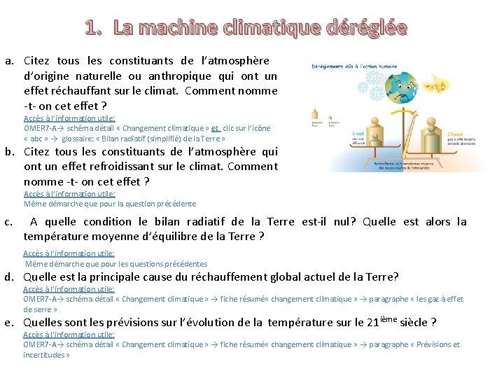 1. La machine climatique déréglée a. Citez tous les constituants de l'atmosphère d'origine