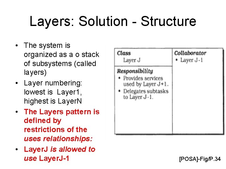 Layers: Solution - Structure • The system is organized as a o stack of