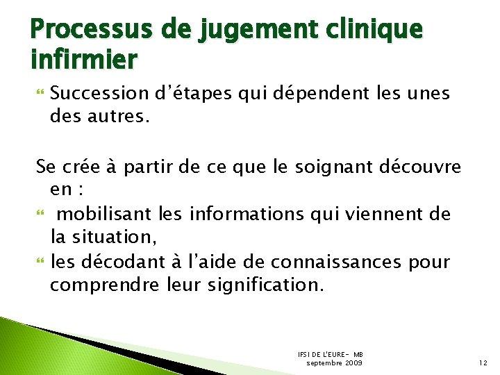 Processus de jugement clinique infirmier Succession d'étapes qui dépendent les unes des autres. Se