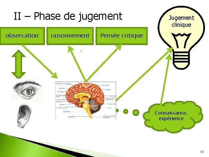 II – Phase de jugement observation raisonnement Jugement clinique Pensée critique Connaissance, expérience 13