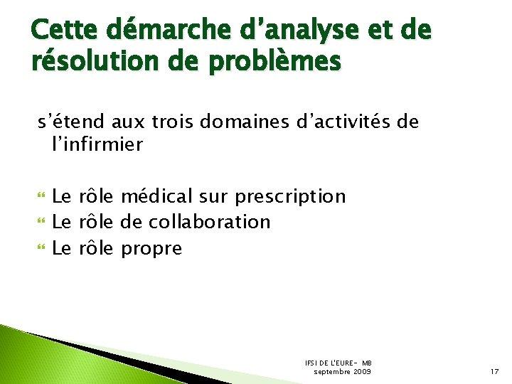 Cette démarche d'analyse et de résolution de problèmes s'étend aux trois domaines d'activités de
