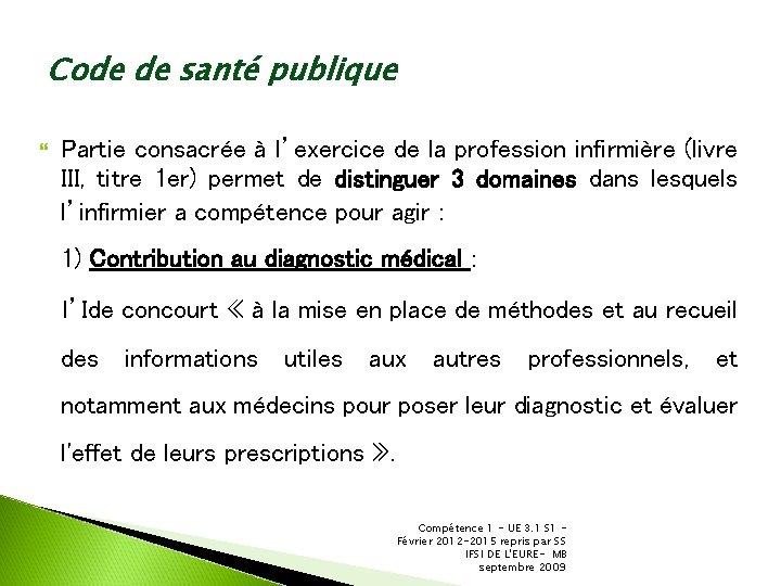 Code de santé publique Partie consacrée à l'exercice de la profession infirmière (livre III,