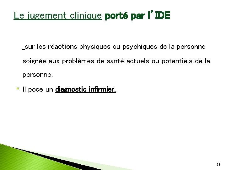 Le jugement clinique porté par l'IDE sur les réactions physiques ou psychiques de la