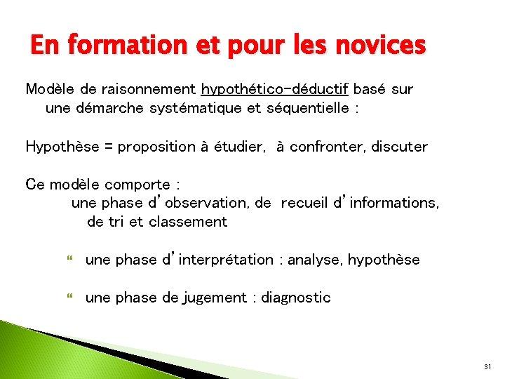 En formation et pour les novices Modèle de raisonnement hypothético-déductif basé sur une démarche