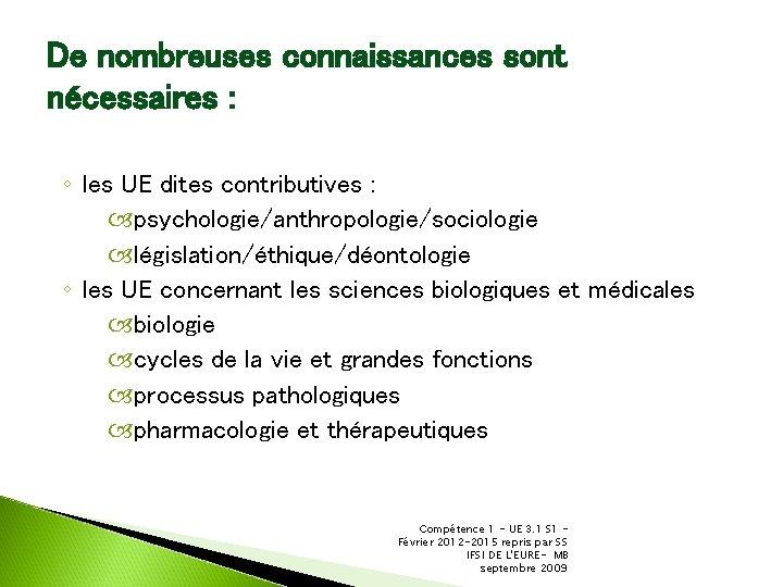 De nombreuses connaissances sont nécessaires : ◦ les UE dites contributives : psychologie/anthropologie/sociologie législation/éthique/déontologie