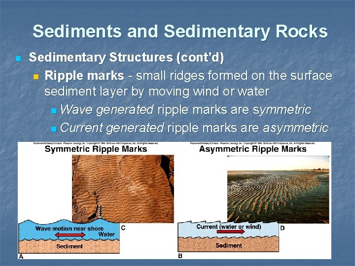 Sediments and Sedimentary Rocks n Sedimentary Structures (cont'd) n Ripple marks - small ridges