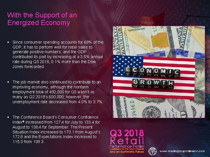 With the Support of an Energized Economy § Since consumer spending accounts for 68%