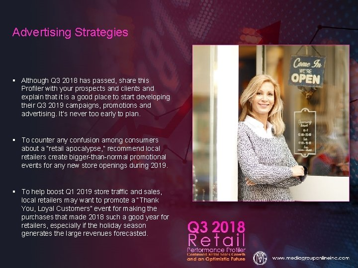 Advertising Strategies § Although Q 3 2018 has passed, share this Profiler with your