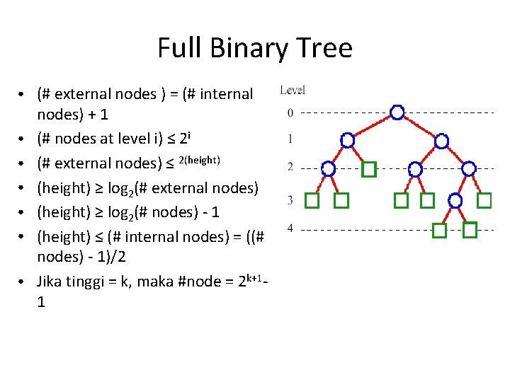 Full Binary Tree ● ● ● ● (# external nodes ) = (# internal