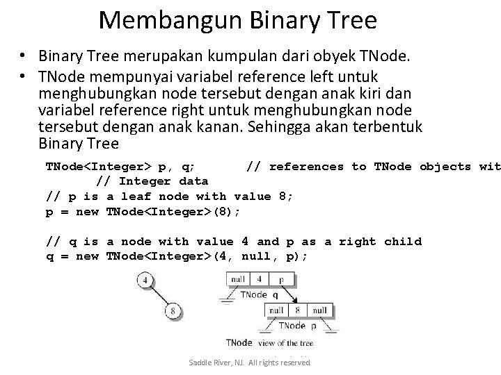 Membangun Binary Tree • Binary Tree merupakan kumpulan dari obyek TNode. • TNode mempunyai