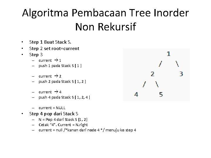 Algoritma Pembacaan Tree Inorder Non Rekursif • • • Step 1 Buat Stack S.