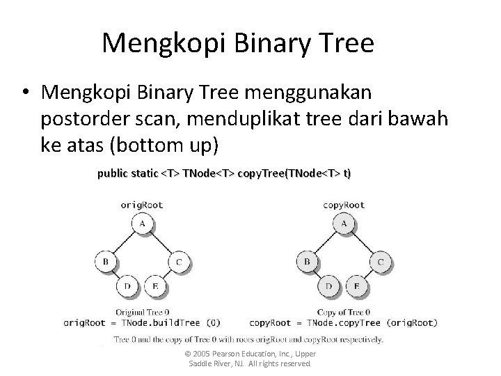 Mengkopi Binary Tree • Mengkopi Binary Tree menggunakan postorder scan, menduplikat tree dari bawah