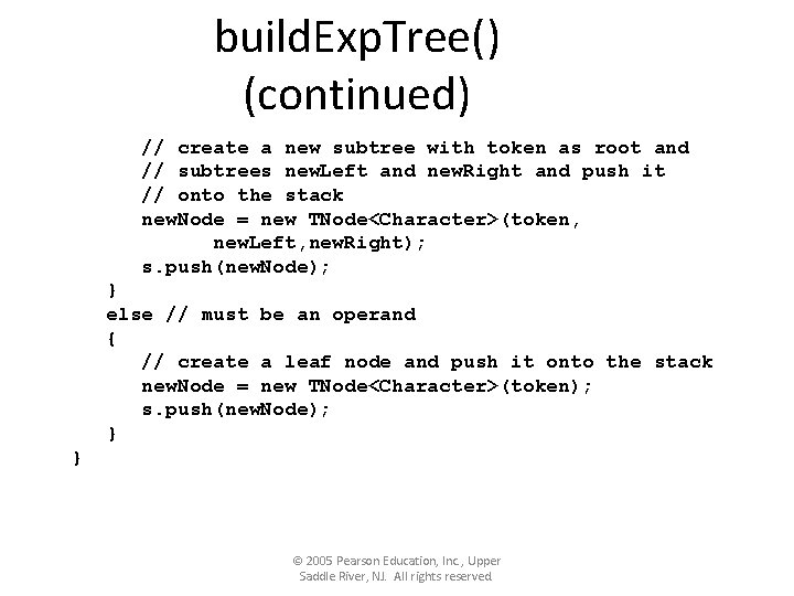 build. Exp. Tree() (continued) // create a new subtree with token as root and