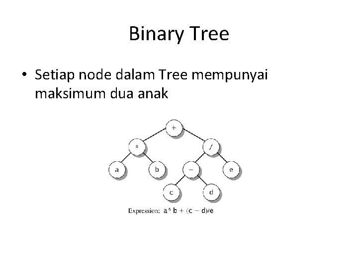 Binary Tree • Setiap node dalam Tree mempunyai maksimum dua anak