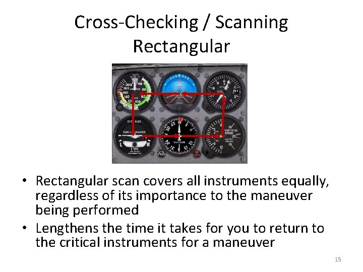 Cross-Checking / Scanning Rectangular • Rectangular scan covers all instruments equally, regardless of its