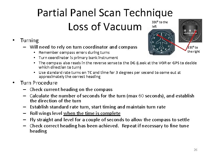 Partial Panel Scan Technique Loss of Vacuum 330° to the left • Turning –