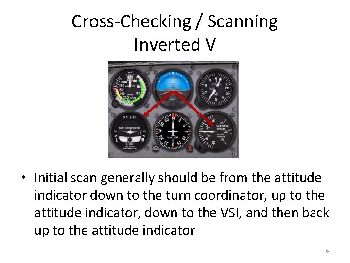 Cross-Checking / Scanning Inverted V • Initial scan generally should be from the attitude