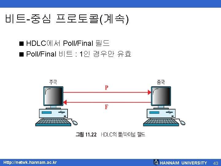 비트-중심 프로토콜(계속) < HDLC에서 Poll/Final 필드 < Poll/Final 비트 : 1인 경우만 유효 Http:
