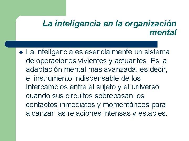 La inteligencia en la organización mental l La inteligencia es esencialmente un sistema de