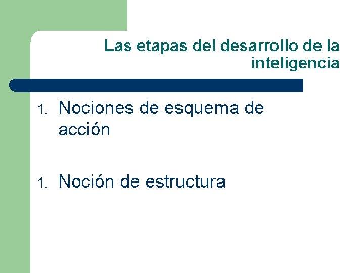 Las etapas del desarrollo de la inteligencia 1. Nociones de esquema de acción 1.