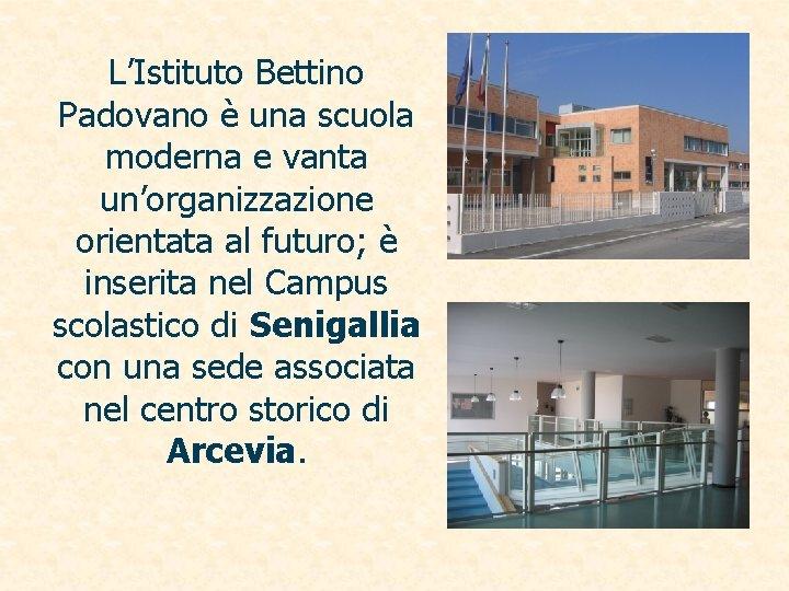 L'Istituto Bettino Padovano è una scuola moderna e vanta un'organizzazione orientata al futuro; è
