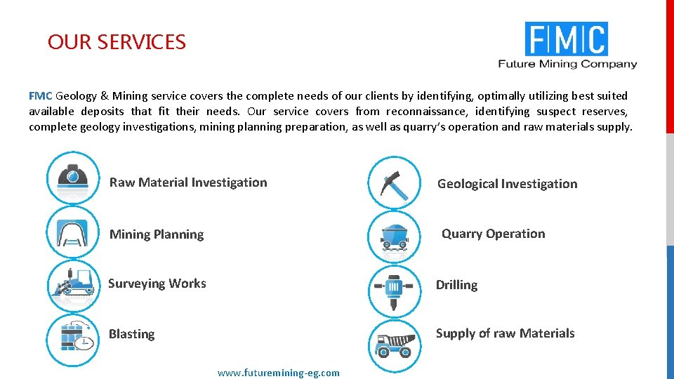 OUR SERVICES FMC Geology & Mining service covers the complete needs of our clients