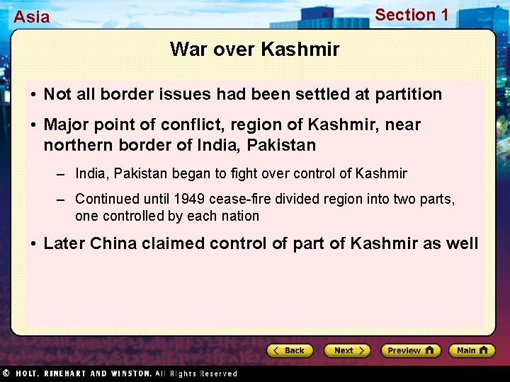 Section 1 Asia War over Kashmir • Not all border issues had been settled