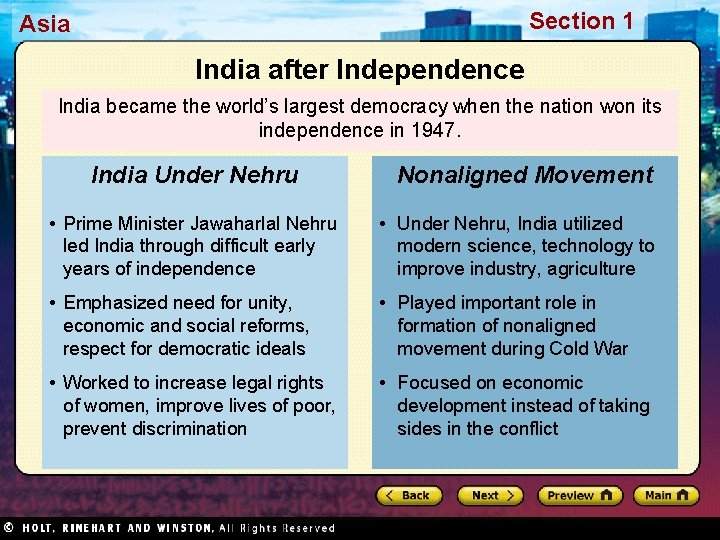 Section 1 Asia India after Independence India became the world's largest democracy when the