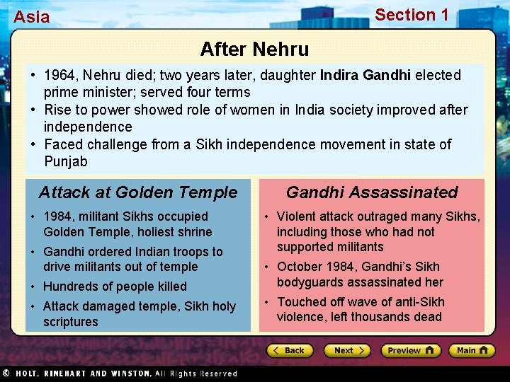 Section 1 Asia After Nehru • 1964, Nehru died; two years later, daughter Indira
