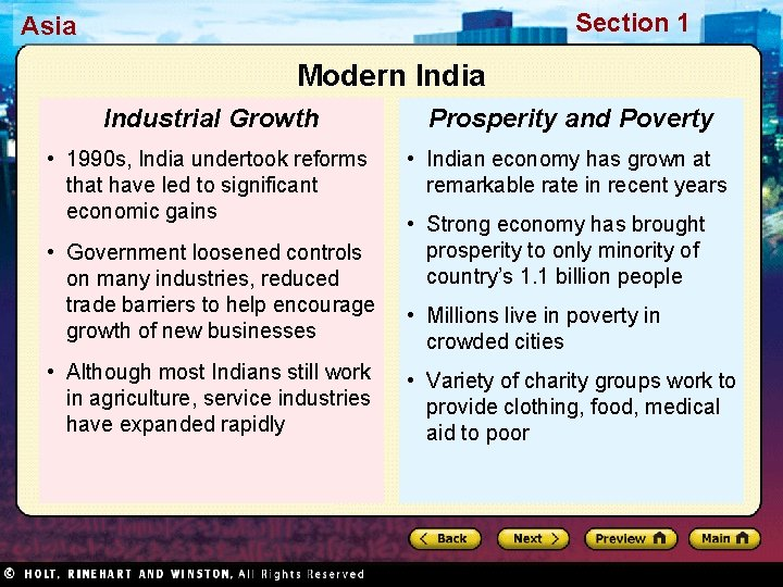 Section 1 Asia Modern India Industrial Growth Prosperity and Poverty • 1990 s, India