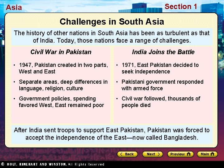 Section 1 Asia Challenges in South Asia The history of other nations in South
