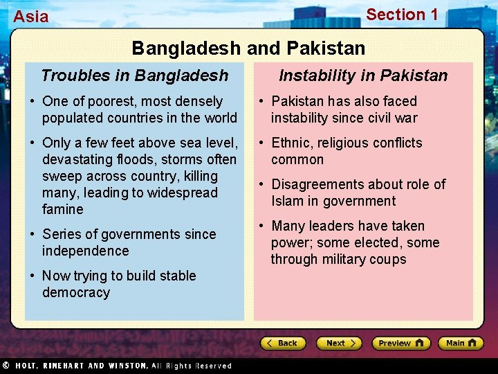 Section 1 Asia Bangladesh and Pakistan Troubles in Bangladesh Instability in Pakistan • One