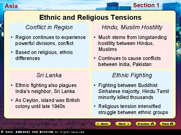 Section 1 Asia Ethnic and Religious Tensions Conflict in Region • Region continues to