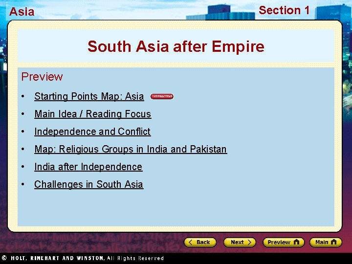 Section 1 Asia South Asia after Empire Preview • Starting Points Map: Asia •