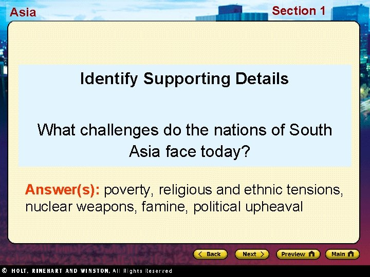 Asia Section 1 Identify Supporting Details What challenges do the nations of South Asia