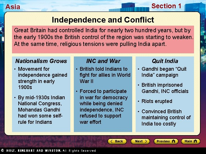 Section 1 Asia Independence and Conflict Great Britain had controlled India for nearly two