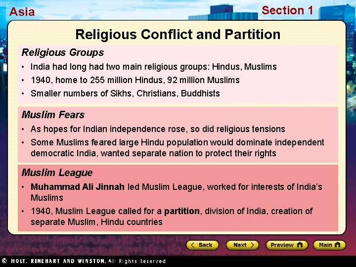 Section 1 Asia Religious Conflict and Partition Religious Groups • India had long had
