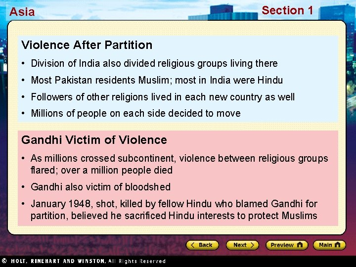Asia Section 1 Violence After Partition • Division of India also divided religious groups