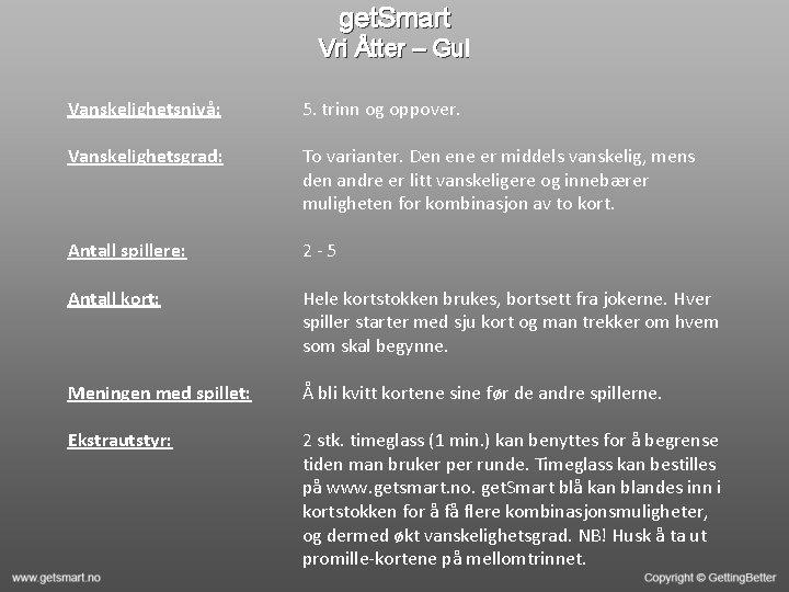 get. Smart Vri Åtter – Gul Vanskelighetsnivå: 5. trinn og oppover. Vanskelighetsgrad: To varianter.