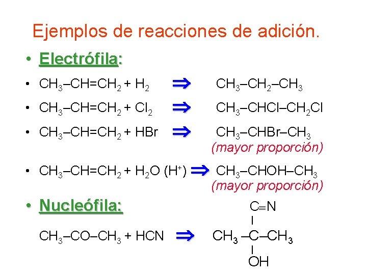 Ejemplos de reacciones de adición. • Electrófila: • CH 3–CH=CH 2 + H 2